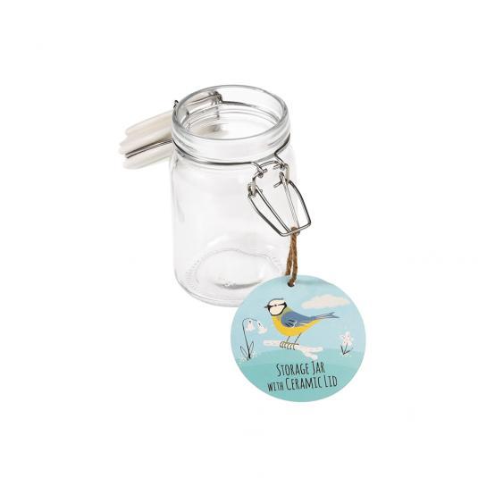 250 ml Glass Jar with Ceramic Blue Tit Bird Print Lid