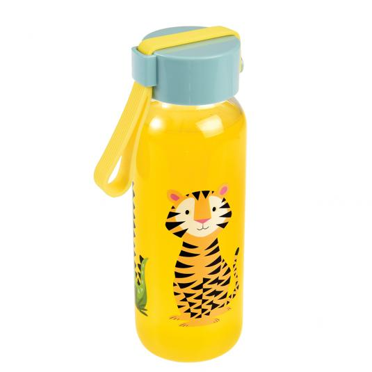 Small Water Bottle with blue lid and tiger print