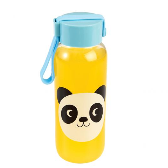 Small kids'  Water Bottle with blue lid and panda print