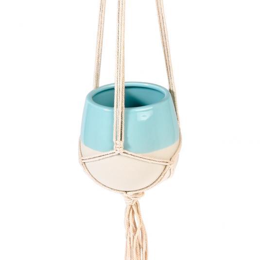 Small Paloma Ceramicd Macrame Plant Pot Holder Aqua Blue