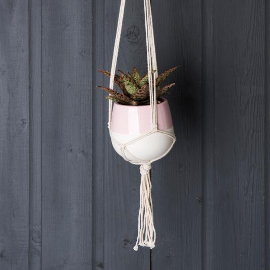 Small Paloma Ceramic Macrame Plant Pot Holder Baby Pink