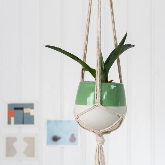 Small Paloma Ceramic Macrame Plant Pot Holder Green