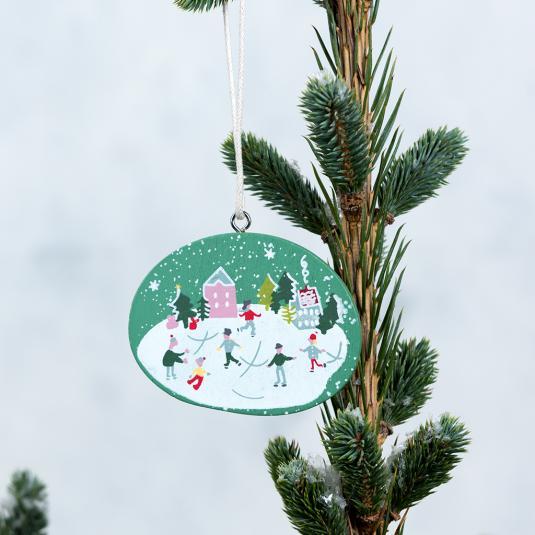 Snow Globe Christmas Wooden Decoration