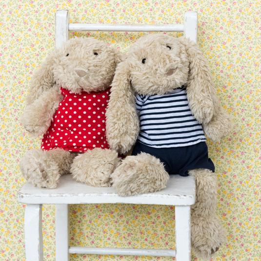 Ollie the bunny boy and Daisy the bunny girl soft toys