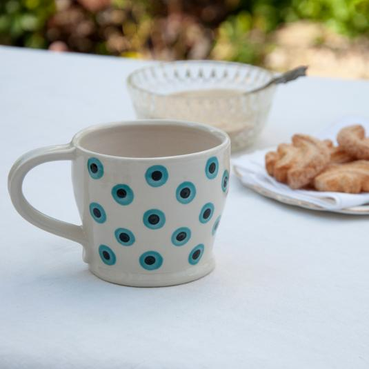 Southwold Stoneware blue Spots Coffee Cup