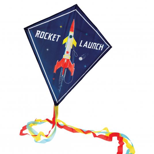 Space Age Kite dark blue with rocket print
