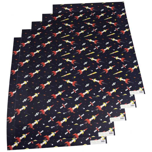 Space Age dark blue Wrapping Paper
