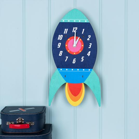 Battery powered Space Rocket wooden wall clock