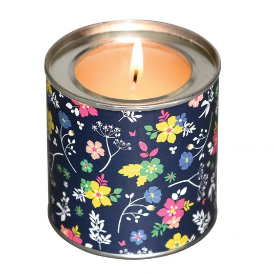 Spring Petals Scented Candle in a Ditsy Garden Tin