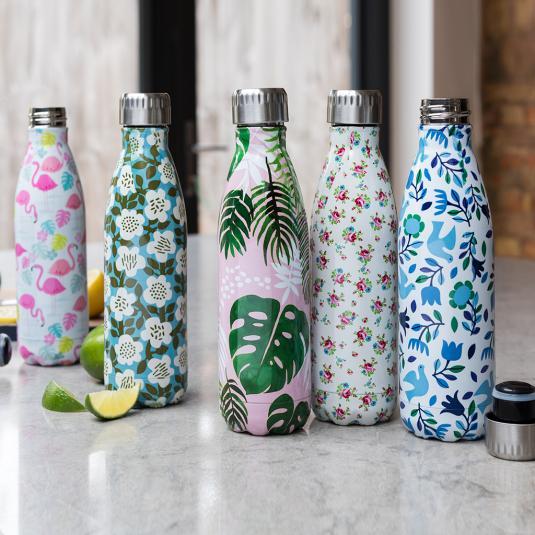 500ml stainless steel water bottles in Rex London designs