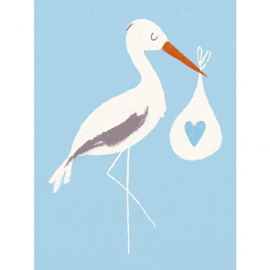 Stork newborn Baby boy Bundle Blue greetings Card