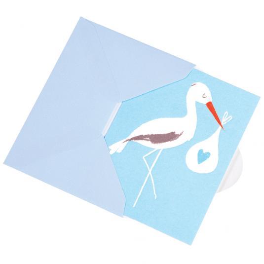 Stork newborn Baby boy Bundle Blue greetings Card with envelope
