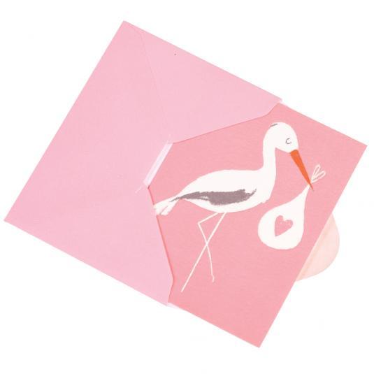 Stork newborn Baby girl Bundle Pink greetings Card with envelope