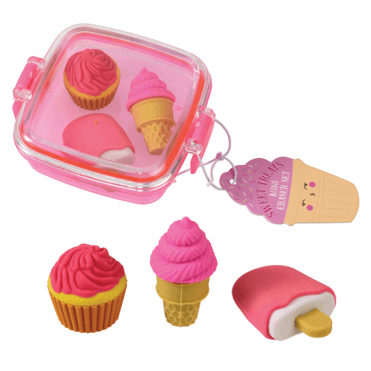 set of three ice cream shaped rubbers in a pink box