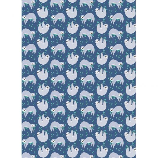 50x70cm sheet of sloth printed blue wrapping paper