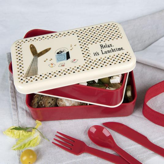Red large Lunch box with compartments and plastic cutlery