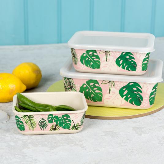 Palm Leaf Bamboo Boxes (Set Of 3)