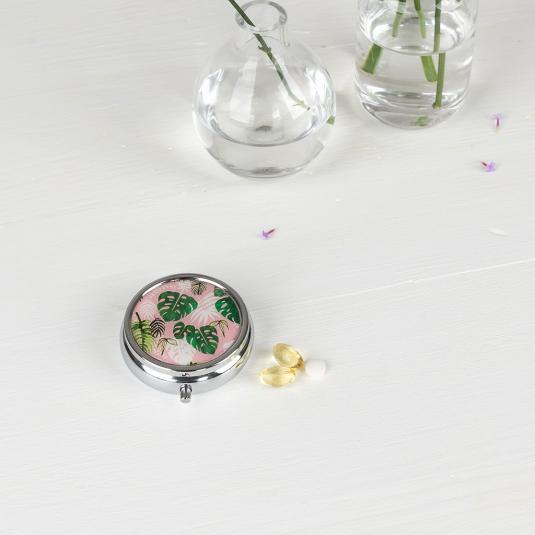 Travel pill box with three compartments and mirror Tropical Palm design