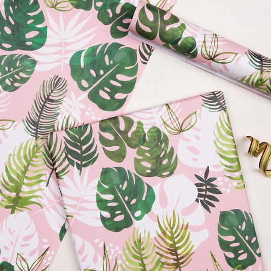 green tropical palm leaves pink gift wrapping paper
