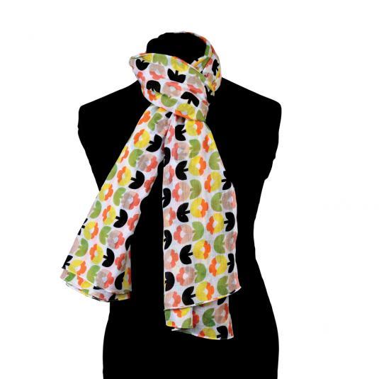 Tulip Bloom design ladies' cotton scarf