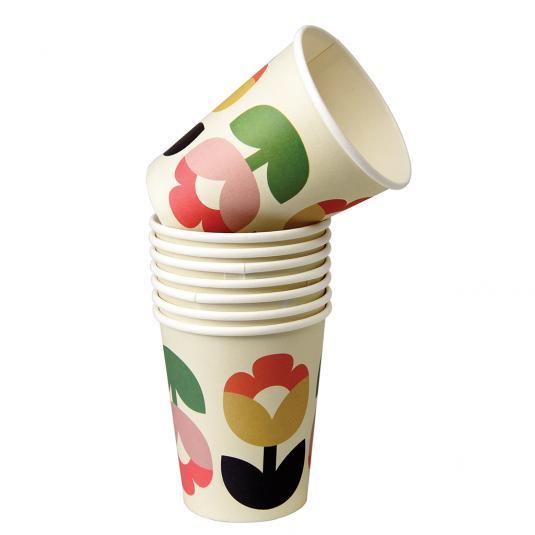 Tulip Bloom Floral Print Paper Cups