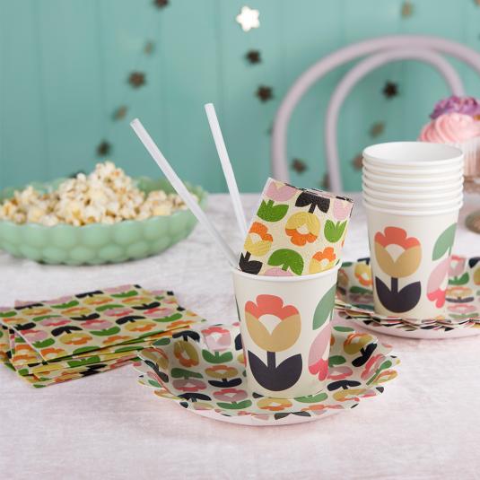 Tulip Bloom retro floral party tableware