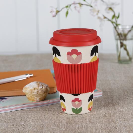 Tulip Bloom red floral print Bamboo Travel coffee Mug