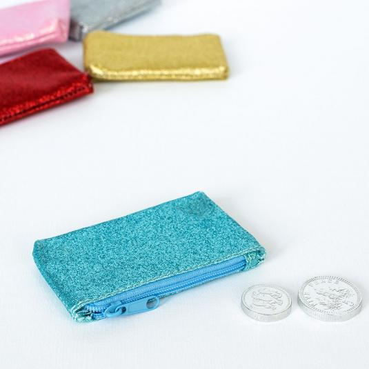 Sparkly turquoise glittery coin purse
