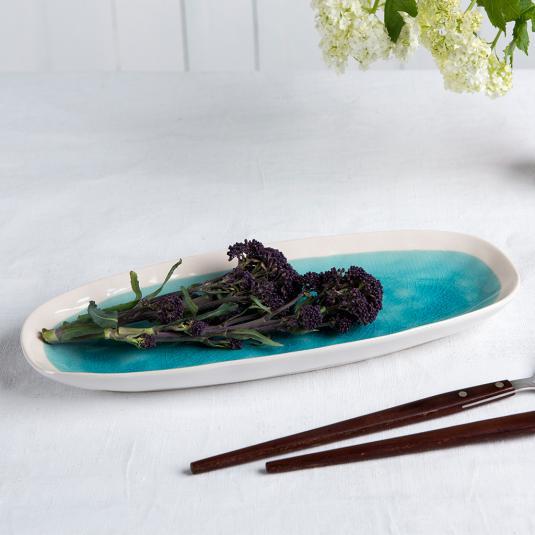 Turquoise ceramic platter