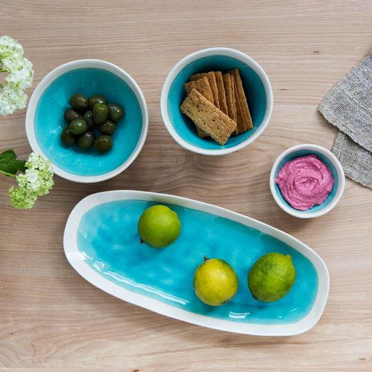 Turquoise ceramic dipping bowl