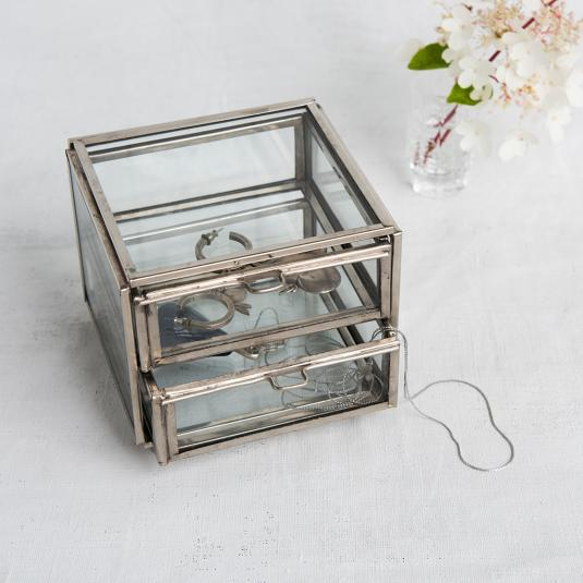Two Drawer metal and glass Jewellery Chest