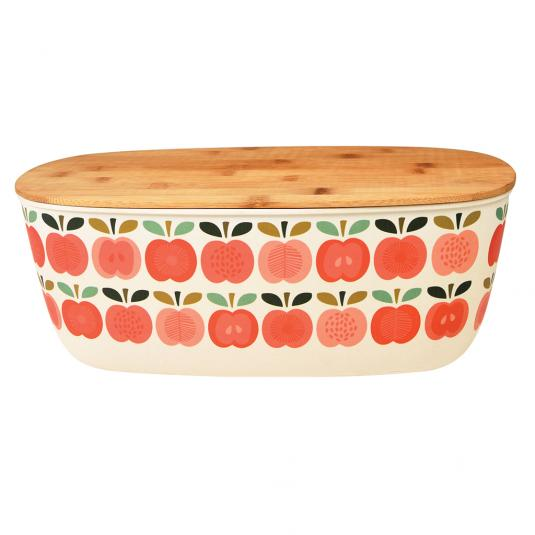 Vintage Apple print Bamboo Bread Bin