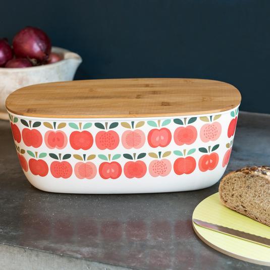 Vintage Apple Bamboo Bread Bin