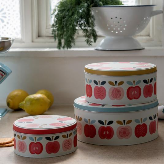 Set Of 3 Vintage Apple Design Cake Tins