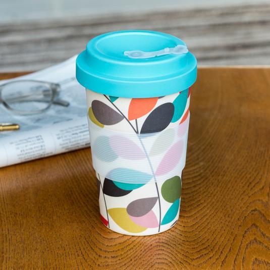 Vintage Ivy bamboo travel mug with bamboo lid