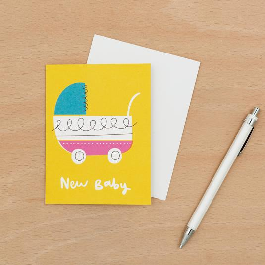 New born Baby Vintage Pram Small yellow greetings Card with white envelope