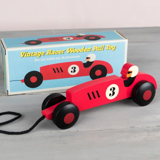 red wooden racing car pull toy with retro style gift box