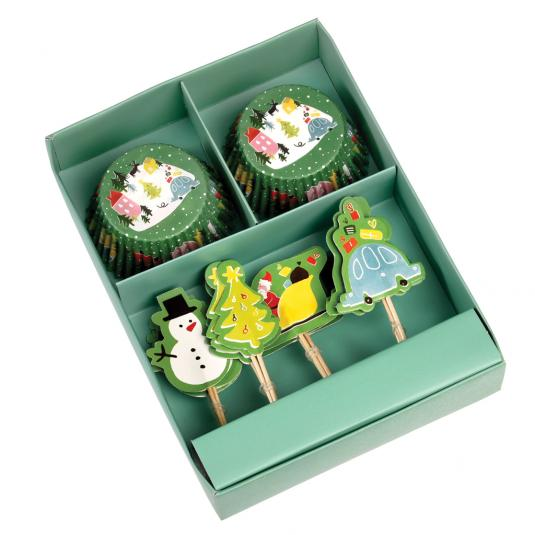 Set of Christmas fairy cake cases and cupcake toppers
