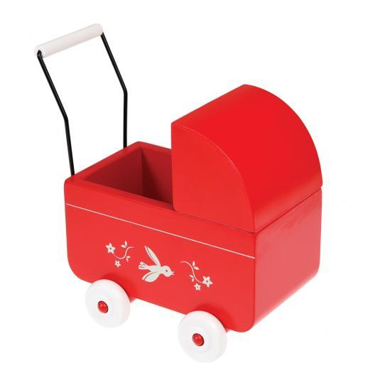 Red Wooden toy pram