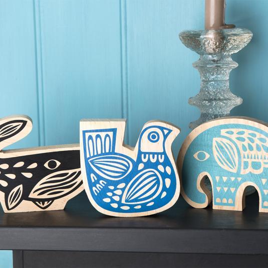 Folk art Animals Wooden Ornament