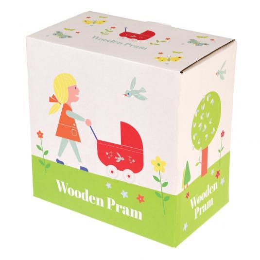 Children's Red Mini Wooden Pram Toy In Box
