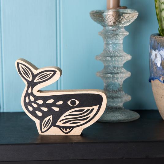 Wooden Black Whale Shelf Decoration