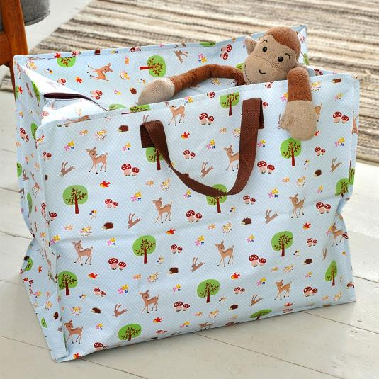 Woodland Animals Design Blue Jumbo Storage Bag