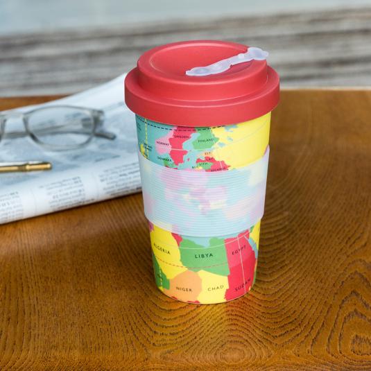 World Map bamboo travel mug with bamboo lid