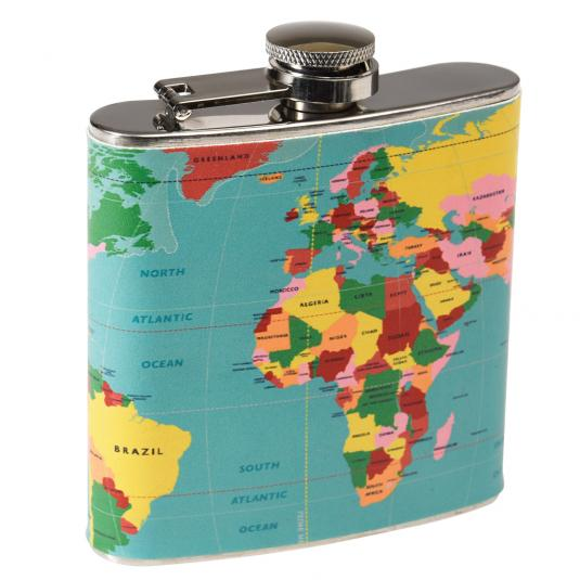World Map Print Stainless Steel Hip Flask