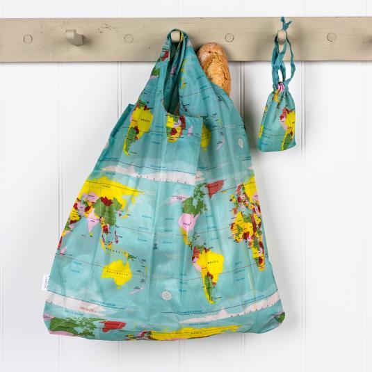 Reusable shopper bag with a pouch world map print