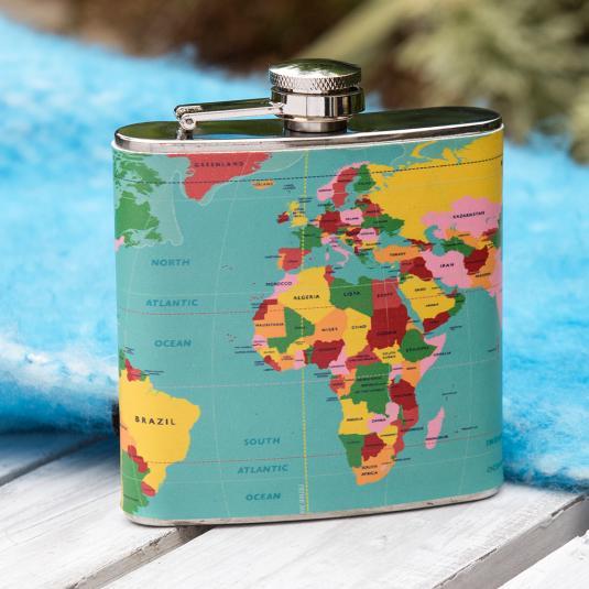 World Map Hip Flask 6oz