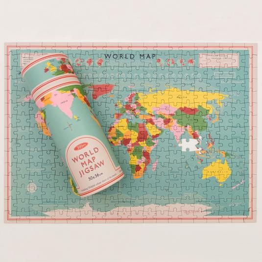 World Map adult backpack with cardboard tube and illustrated poster