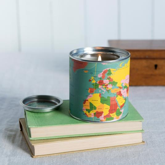 World Map Scented Candle in a tin