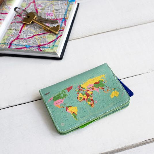 World map Travel Card Holder